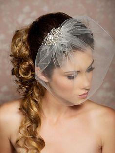 Rhinestone Veil, Crystal Veil, Wedding Veil, Rhinestone Comb, Blusher Veil, Tulle Veil, Bridal Veil - Made to Order - SYLVIA on Etsy, $54.00