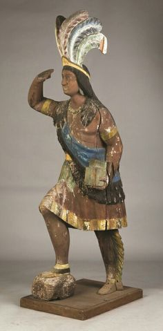 Carved and Painted Cigar Store Indian Chief. Probably Thomas Brooks. Native American Art, American Indians, Cigar Store Indian, West Indian, Documentary Photography, Old West, Cigars, Folk Art, Carving