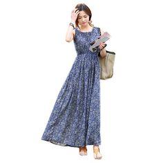 f4f1bc3a9b New Floral Print Maxi Dress Women Casual Vintage Flower Sleeveless Summer  Vestidos Elegant Long Party Dresses Plus Size