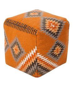 Burnt Orange Cube Pouf   zulily