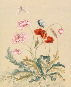 Korean Painting, Chinese Painting, Chinese Art, Botanical Drawings, Botanical Art, Traditional Art, Asian Art, Textile Art, Flower Patterns