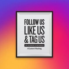 Follow Us, Like Us & Tag Us on Facebook and Instagram with Custom Text, Social Media Call To Action, Barber Shop Interior, Barber Shop Decor, Instagram Sign, Facebook Instagram, Hair Salon Quotes, Maybe For You, Tag Store, Follow Us, Typographic Design