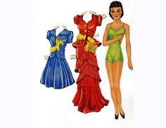 1940s Brunette Paper Doll