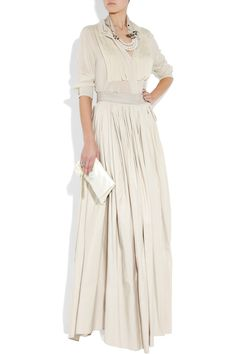 Crepe-front silk-chiffon blouse and Taffeta maxi skirt by Lanvin