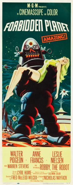 This Forbidden Planet Poster measures 24 x 36 inches. Forbidden Planet is a 1956 science fiction film directed by Fred M. It stars Walter Pidgeon, Anne Francis, and Leslie Nielsen. Horror Movie Posters, Old Movie Posters, Classic Movie Posters, Classic Horror Movies, Vintage Posters, 1950s Posters, Art Posters, Film Science Fiction, Fiction Movies