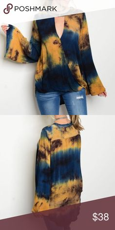 Deep Blue & Gold Tie Dye Boho Top For the boho chic goddess! Long bell sleeve keyhole neckline surplice front tie dye top 💕 Available in small, medium, large 💕 100% Rayon 💕 Any questions at all, please ask! Tops Blouses