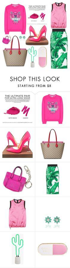 """Pink + Green"" by cherieaustin on Polyvore featuring Urban Decay, Kenzo, Christian Louboutin, Gucci, Merona, Dolce&Gabbana, Prada, Hueb, Sunnylife and ban.do"