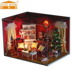 Dollhouse Miniature DIY Kit w Cover LED Music Christmas Xmas Living Room | eBay