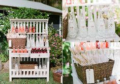 Wedding Drink Stations - Repurpose a Shelf as a drink display