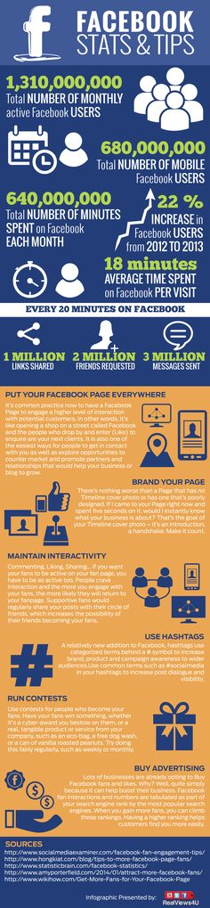 SOCIAL MEDIA -         Facebook Stats and Tips #Facebook #SocialMedia #infographic.