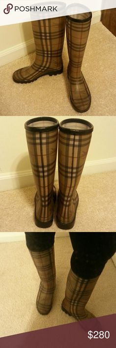 Burberry Rainboots Burberry Rainboots. Slight scuffs on inside(not really noticeable).Good condition.  I take care of my clothes.  Selling only because my feet got wider and bigger.  Looking for a size 39/9(willing to trade) . Really enjoyed these rain boots. *Make me an offer.* Burberry  Shoes Winter & Rain Boots
