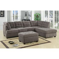 Brayden Studio Aedesia Piece Waffle Suede Sectional Sofa with Square Stitching Pattern & Reviews | AllModern