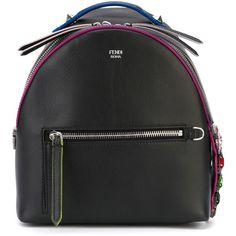 Fendi crystal crocodile detail mini backpack ($2,325) ❤ liked on Polyvore featuring bags, backpacks, backpack, fendi, black, day pack backpack, black rucksack, crocodile backpack, zipper bag and fendi backpack