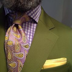 Paisley, Gingham and kiwi w/ a pop pocket square.