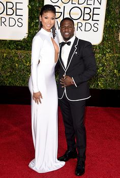 Brides.com: . Eniko Parrish. Eniko Parrish wore white on the red carpet — so appropriate, of course, as the aspiring model and actress got engaged to actor and comedian Kevin Hart in August. The long-sleeved gown featured a sexy, bust-and-tummy revealing slit.
