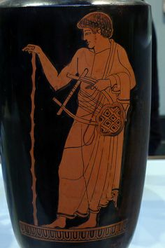 Getty Villa - Collection | Oil Jar (Lekythos) with a Man Holding a Lyre - Greek (Athens, c. 480 BC)