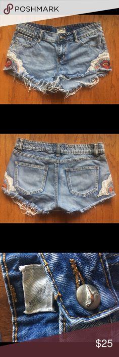 Free People Raw Hide Denim Cutoffs Denim Embroidered Cutoff Shorts With Frayed Hem Free People Shorts Jean Shorts