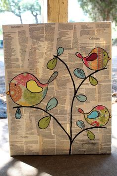 Bible page and scrapbook birds collage!  $30 on etsy