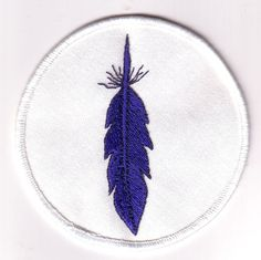 SCA  Embroidered  Patch  blue feather  dark by vpyours on Etsy, $5.00
