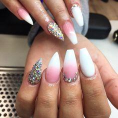 baby boomer nails almond ballerina coffin french gel