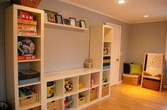 Ikea Expedit playroom storage.