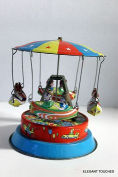 Schylling 1970 CANOE RIDE Carousel Wind-Up vintage pressed Tin Toy    #Schylling #Carousel