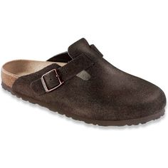 Birkenstock Unisex's Boston Soft Footbed Mocha Suede Slide Sandals ($140) ❤ liked on Polyvore featuring shoes, sandals, brown, adjustable strap sandals, clog shoes, clog sandals, brown suede shoes and suede shoes