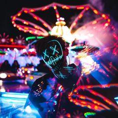 Halloween-Party & Rave LED Purge Mask - Ice blue