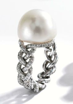 Diamond and Pearl Ring by JAR