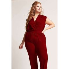 382937af2b7 Forever21 Plus Size Surplice Jumpsuit ( 18) ❤ liked on Polyvore featuring  plus size women s
