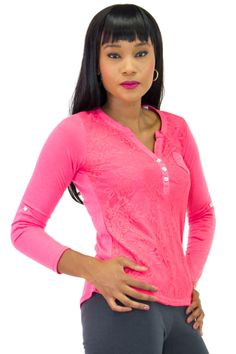 V-Neck Fitted Lace Front Top with Convertible Sleeves | Danice Stores This versatile stretch top features long convertible sleeves that can be rolled up or down and a V-neck and a floral lace layer all over the front. This top has soft stretch knit fabric and a slim fit.