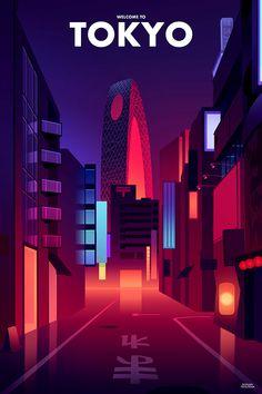 Romain Trystram on Behance Building Illustration, City Illustration, Digital Illustration, Aesthetic Art, Aesthetic Anime, Photoshop 4, Neon Wallpaper, Visual Development, Personal Development