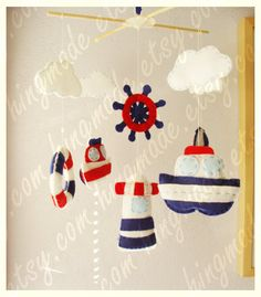 @kelly White You should do thise! Baby Nursery Mobile - Baby Crib Mobile - Baby Mobile - Handmade Baby Mobile - Hanging Mobile - Ocean Mariner theme (Choose your color)