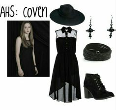 "Zoe from ""American Horror Story: Coven"" looooove that dress! Witch Fashion, Gothic Fashion, Look Fashion, Fashion Outfits, Coven Fashion, Witchy Outfit, American Horror Story Coven, Look Dark, Looks Black"