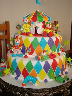 cake for boys Baby Cakes, Beautiful Cakes, Amazing Cakes, Clown Cake, Circus Cakes, Caramel Cookies, Dream Cake, Just Cakes, Cakes For Boys