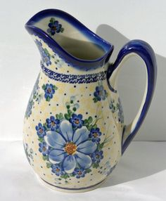 Pitcher, cream and blue