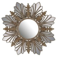 Add antiqued appeal to your master suite or living room with this eye-catching wall mirror, featuring a floral-inspired frame and gold finish.