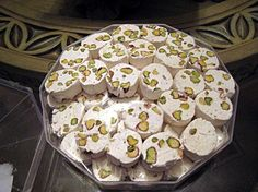 Gaz - a delicious Persian treat made out of pistachio and nougat. This is delicious. Iranian Desserts, Persian Desserts, Persian Recipes, Iranian Cuisine, Iranian Food, Middle East Food, Middle Eastern Recipes, Arabic Sweets, Arabic Food