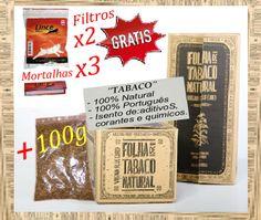 Onça de Tabaco 100g + Grátis 3x Mortalhas 2x Filtros Só : 12.59 € -Tabaco 100% Português isento de aditivos,corantes e químicos.