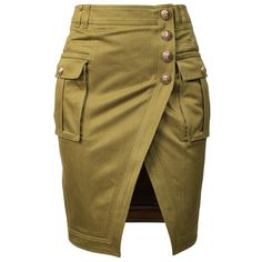 Army green cotton military inspired pencil skirt with front slit detail. Designer signature embossed buttons. Side pockets. Welt pockets at back. Belt loops. Zi...