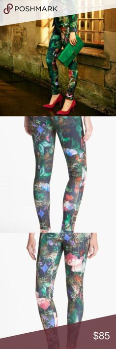 'Bejeweled Wing' Print Leggings TED BAKER LONDON Abstracted butterfly wings bring a bold sense of whimsy to cuffed stretch leggings structured with raised seams and zip pockets.Polyester/elastane; hand wash. waist 17 rise 10 inseam 28 Ted Baker London Pants Leggings