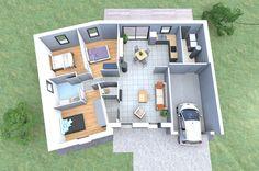 Un plan 3d de maison 4 chambres originale avec une forme for Plan maison 6 chambres