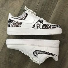 Custom design for white shoes! Designs will be fairly similar to this one--I do a lot of florals, swirls, and leaves. The shoes in the picture above are Nike Air Force Ones, but I can work with any pair of shoes as long as theyre white! Price is $20 for all customization, and the