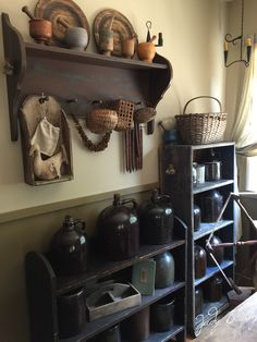 Collection brown jugs