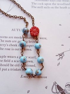 Vintage Bead Necklace Vintage Necklace Beaded Necklace by puffluna, $21.00