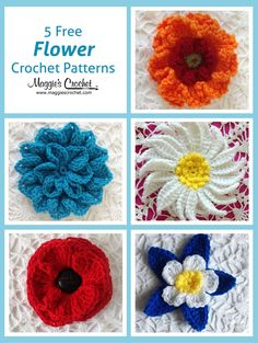 This week, we are pleased to present five free flower patterns, designed by Carol Ballard. These flowers can be worked with any weight of yarn. Finer weights will create a smaller flower, an...