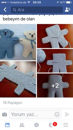 Baby Knitting Patterns Toys I know its not crochet but now i know how to make these hospital teddies.The main part of the teddy is knitted in one piece, starting at the feet, going up to the top of the head and back down to the feet. Teddy Bear Knitting Pattern, Knitted Teddy Bear, Crochet Teddy, Baby Knitting Patterns, Knit Crochet, Crochet Patterns, Teddy Bears, Knitted Dolls, Crochet Dolls