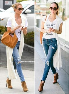 Sydne Style shows how to get Rosie Huntington Whitley street style for less in ripped jeans and white duster vest for celebrity fashion White Vest Outfit, Long Vest Outfit, Casual Skirt Outfits, Vest Outfits, Celebrity Outfits, Celebrity Style, Duster Vest, Men With Street Style, Long Vests