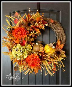 Fall Wreath - Lighted Hydrangea & Pumpkins Wreath - Large Rustic Grapevine Wreath - Front Door Decoration 2 Pumpkins on Etsy, $139.00