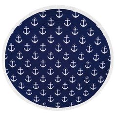 Navy anchor heavy terry round beach towels with deluxe trim (140 BAM) ❤ liked on Polyvore featuring home, bed & bath, bath, beach towels, navy blue beach towels, terry beach towel, navy beach towel, anchor beach towel and round beach towel